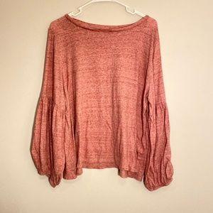 LOFT | Pink Bishop Sleeve Top Size XLP